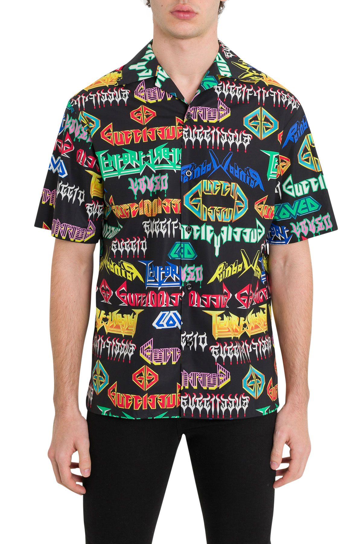 Gucci Metal Lettering Bowling Shirt