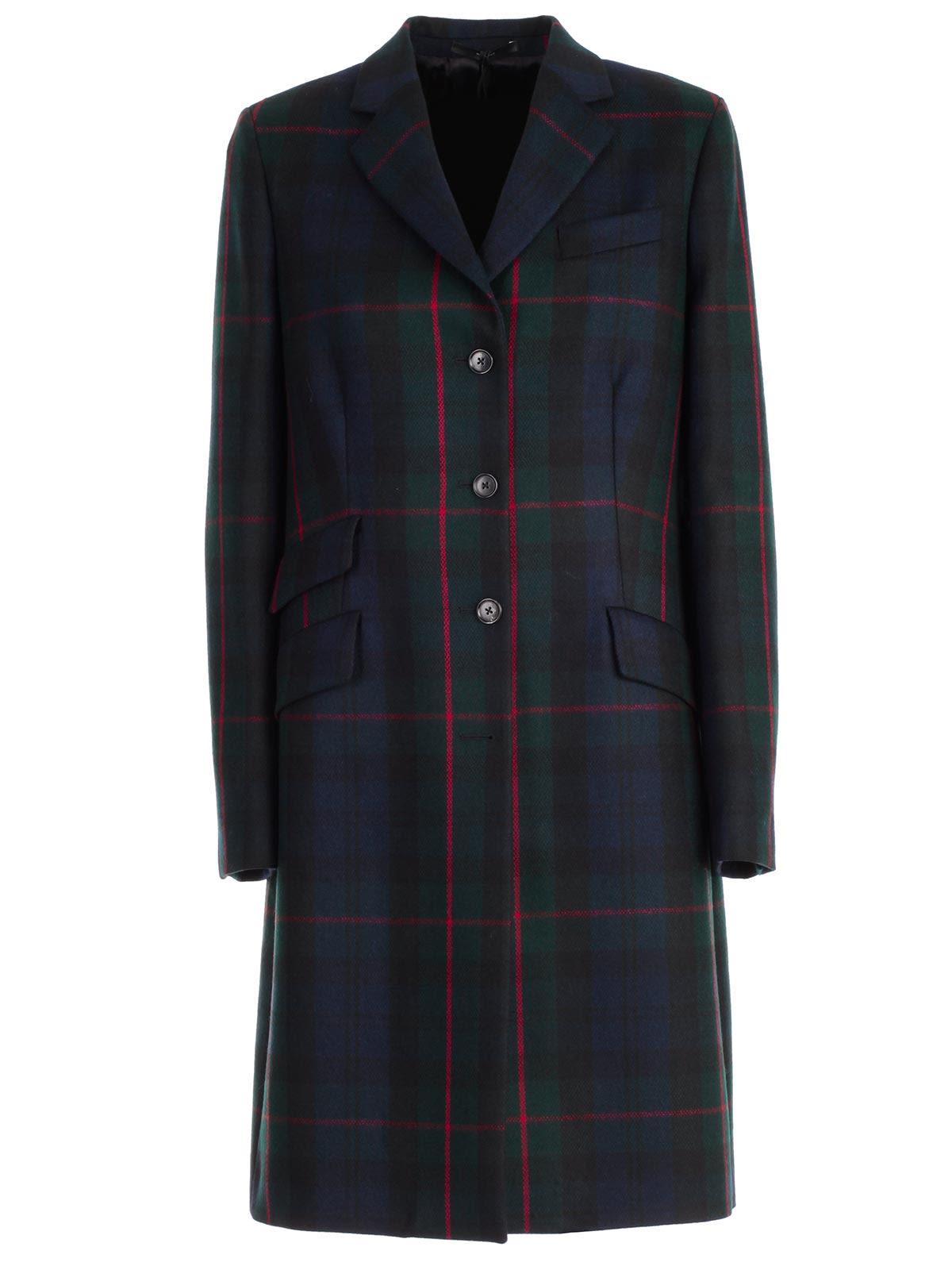 Paul Smith Plaid Single-breasted Coat