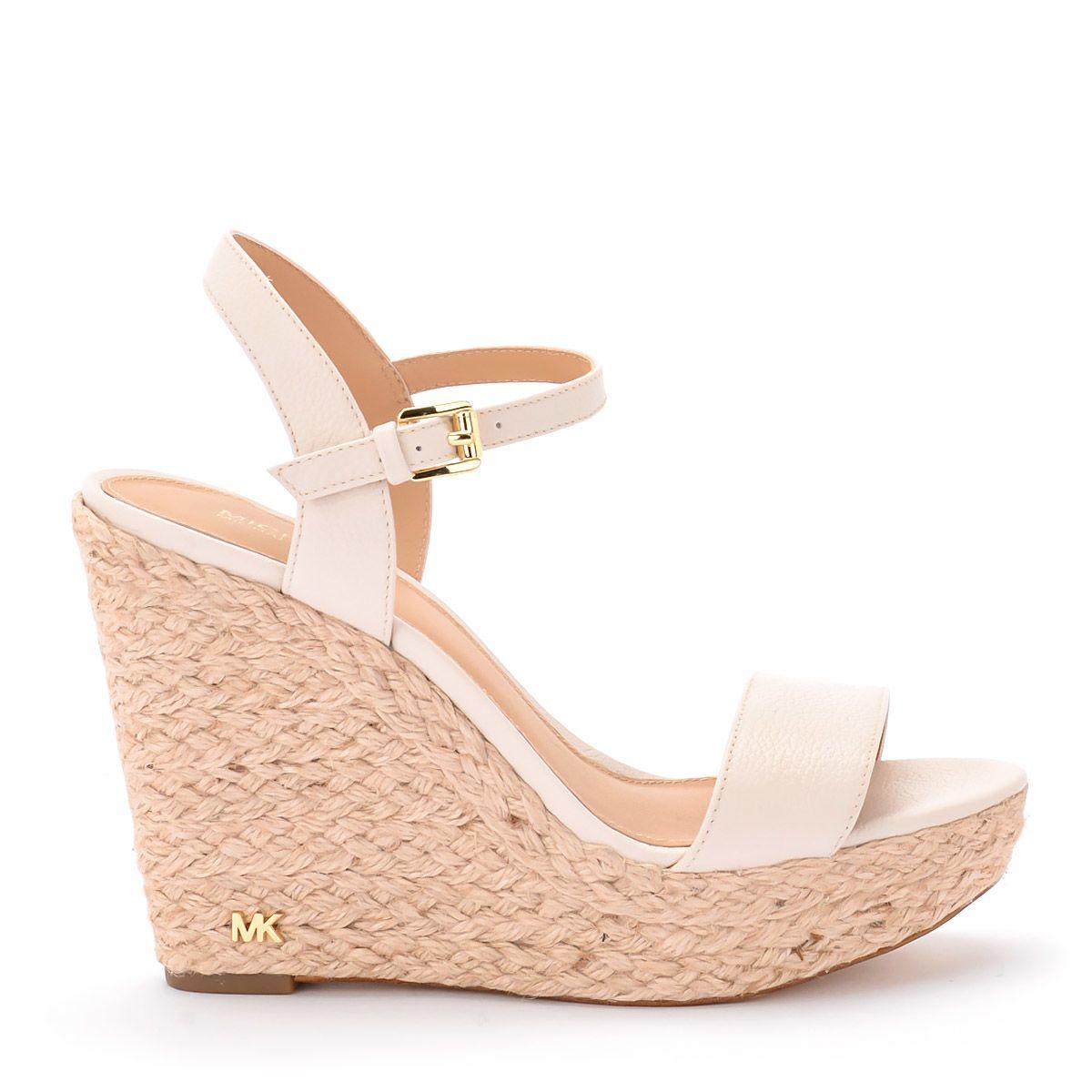 Michael Kors Jill Ivory Leather Wedge Sandal