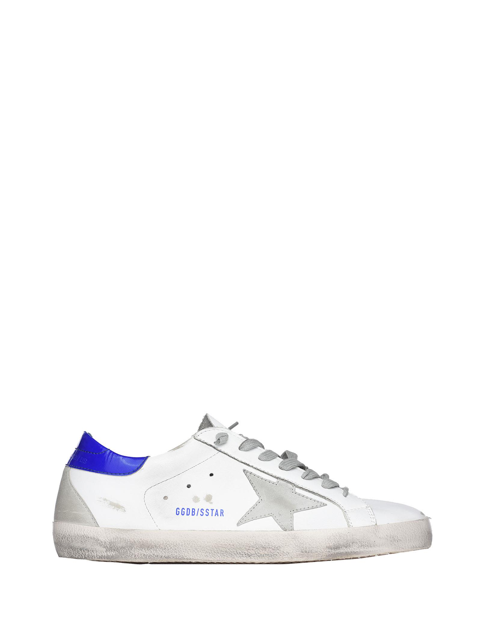 Golden Goose Superstar White And Blue Sneakers