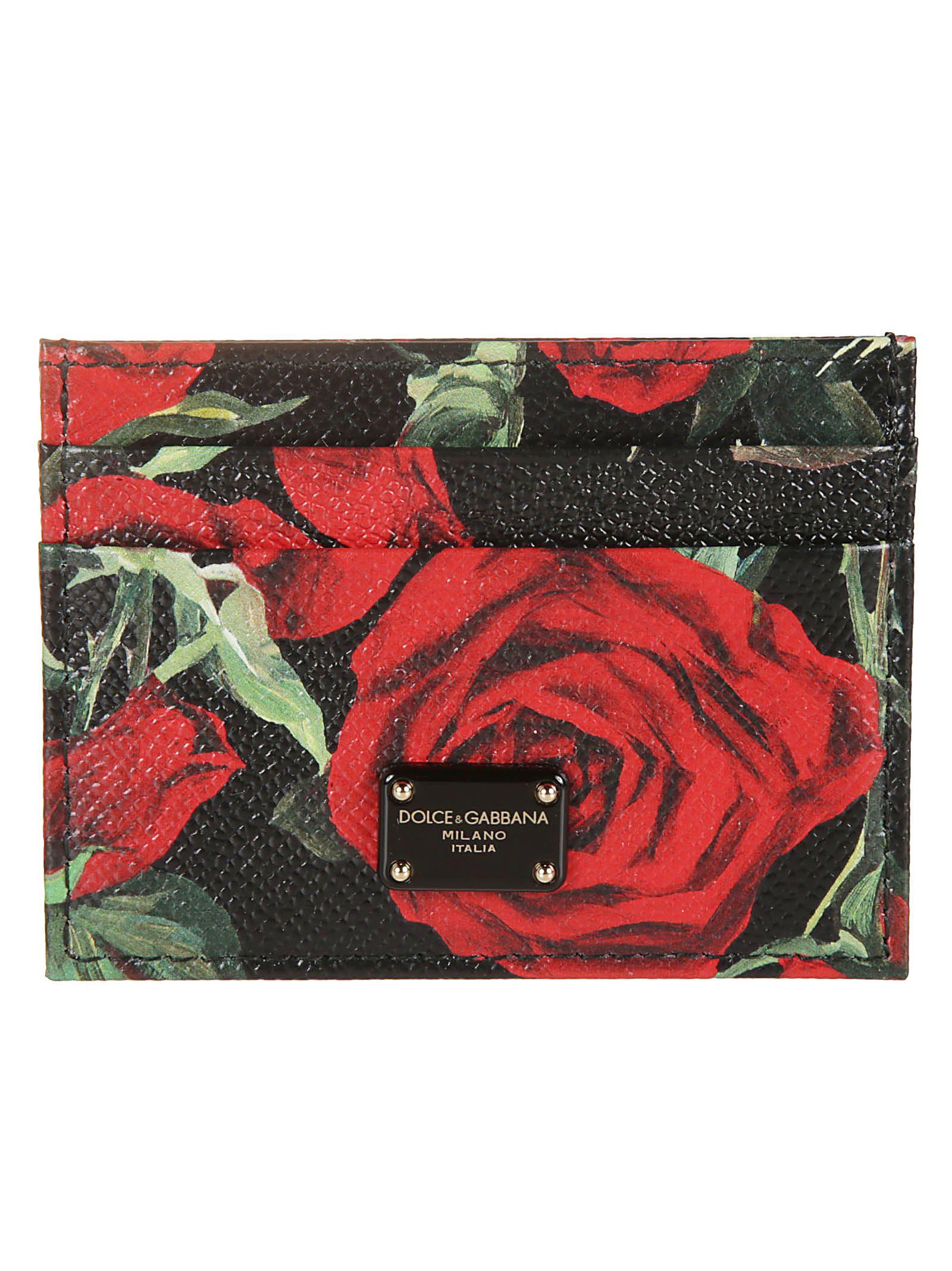 Dolce & Gabbana Floral & Logo Plaque Cardholder