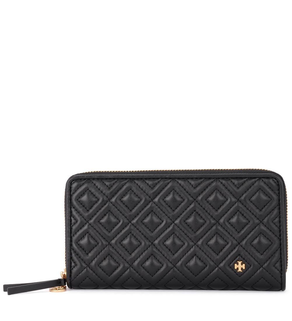 Tory Burch Fleming Black Quilted Leather Wallet.