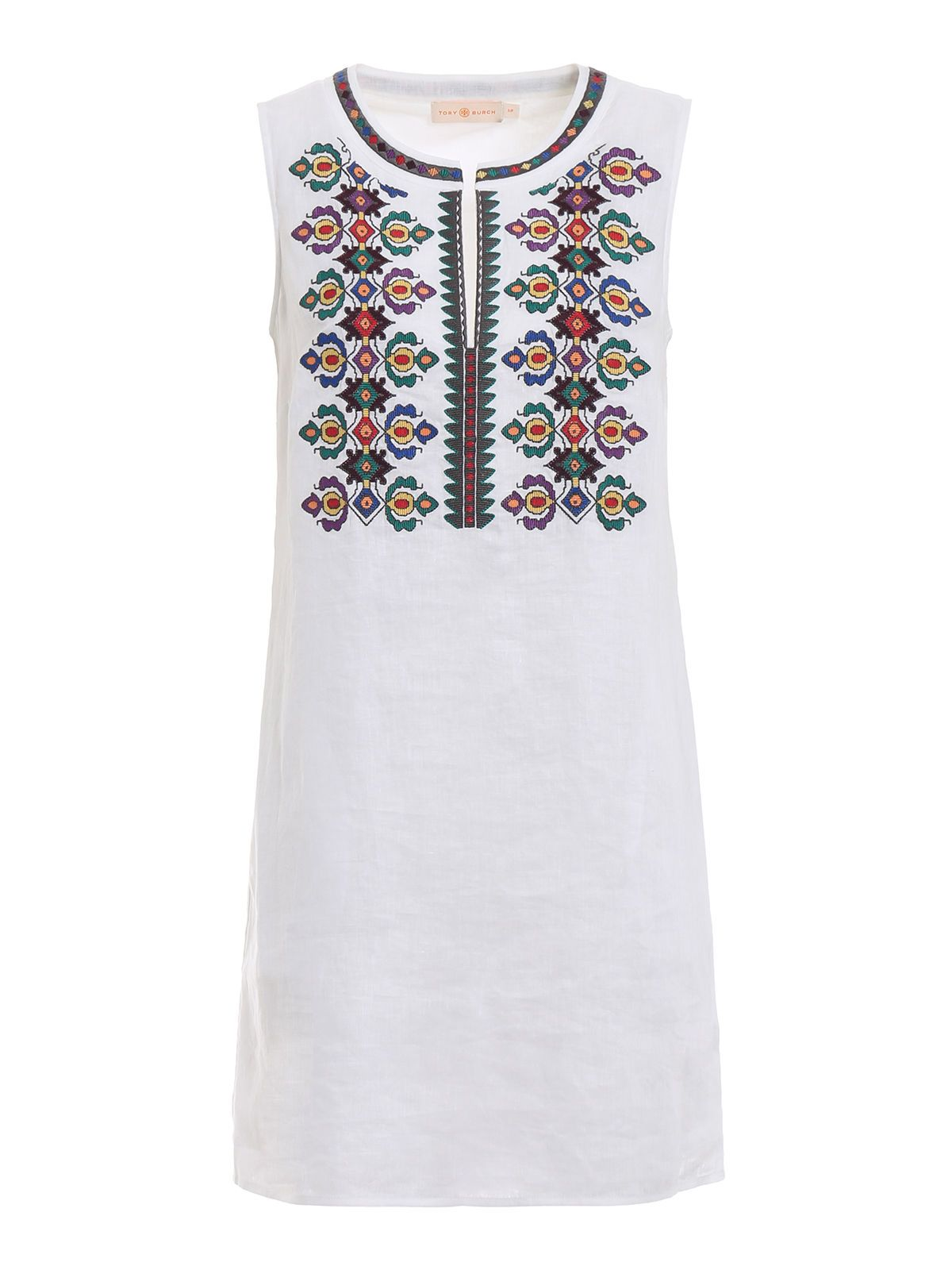 Tory Burch Linens EMBROIDERED SHIFT DRESS
