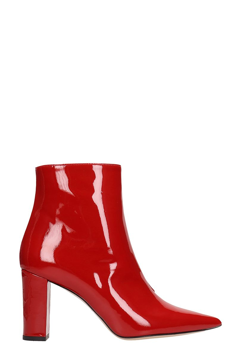 Marc Ellis RED PATENT LEATHER ANKLE BOOTS