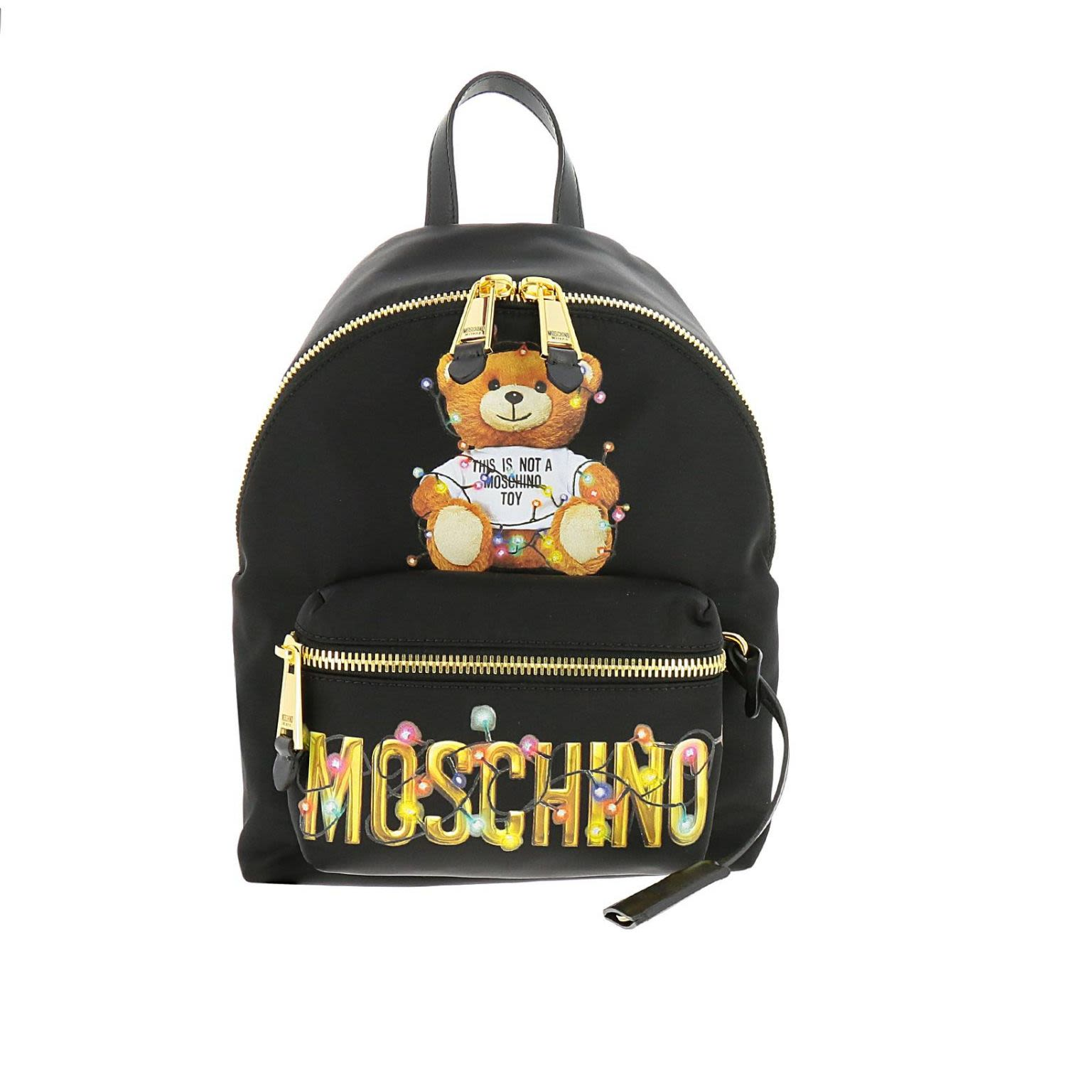 moschino -  Couture Backpack  Capsule Collection Small Nylon Backpack With Teddy Christmas  Print
