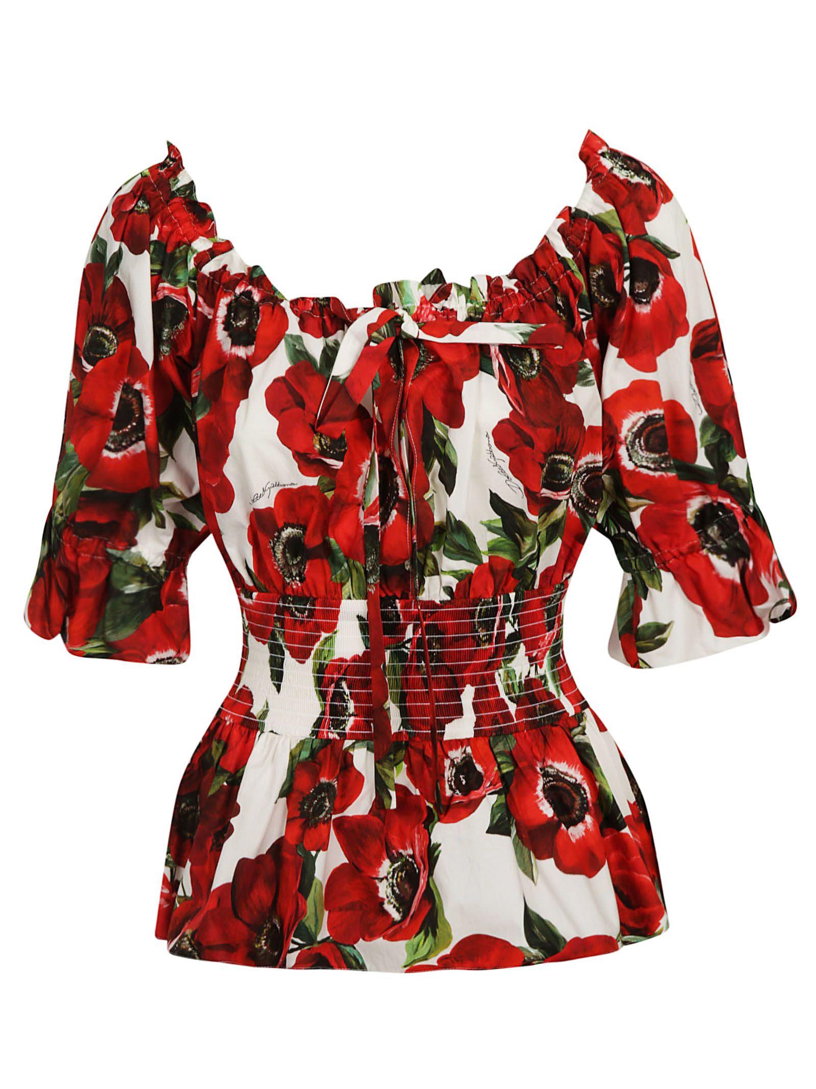 Dolce & Gabbana Off Shoulder Floral Blouse