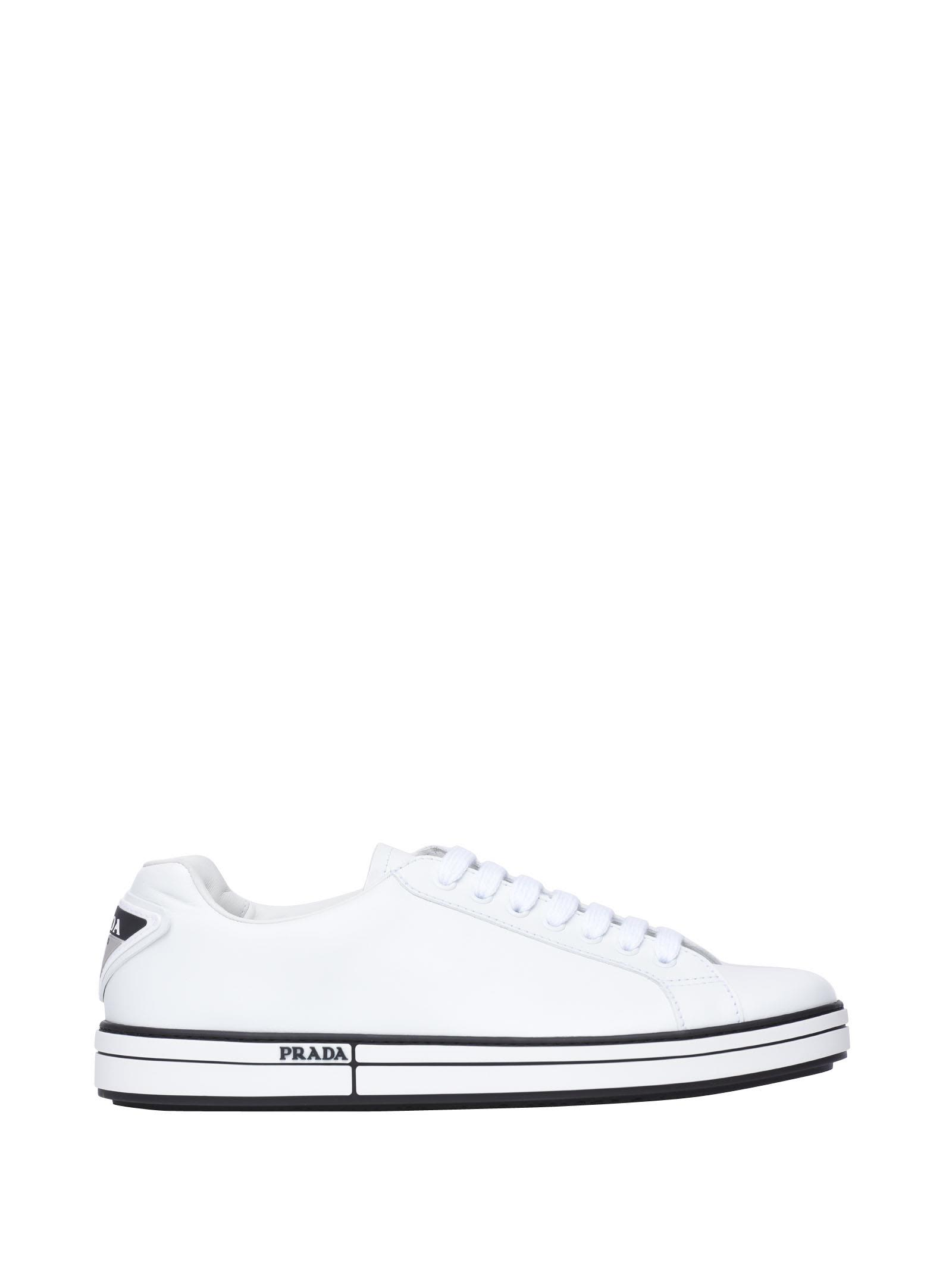 Prada Linea Rossa Leather And Fabric Sneakers