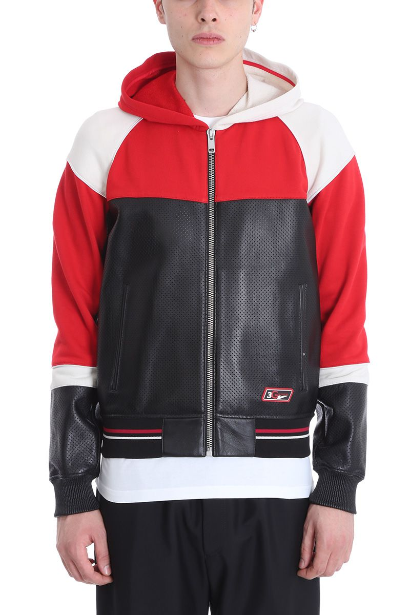 Givenchy Black/red Leather And Cotton Jacket