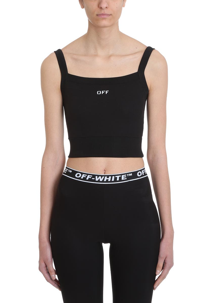 Off-White Crop Top Black Cotton