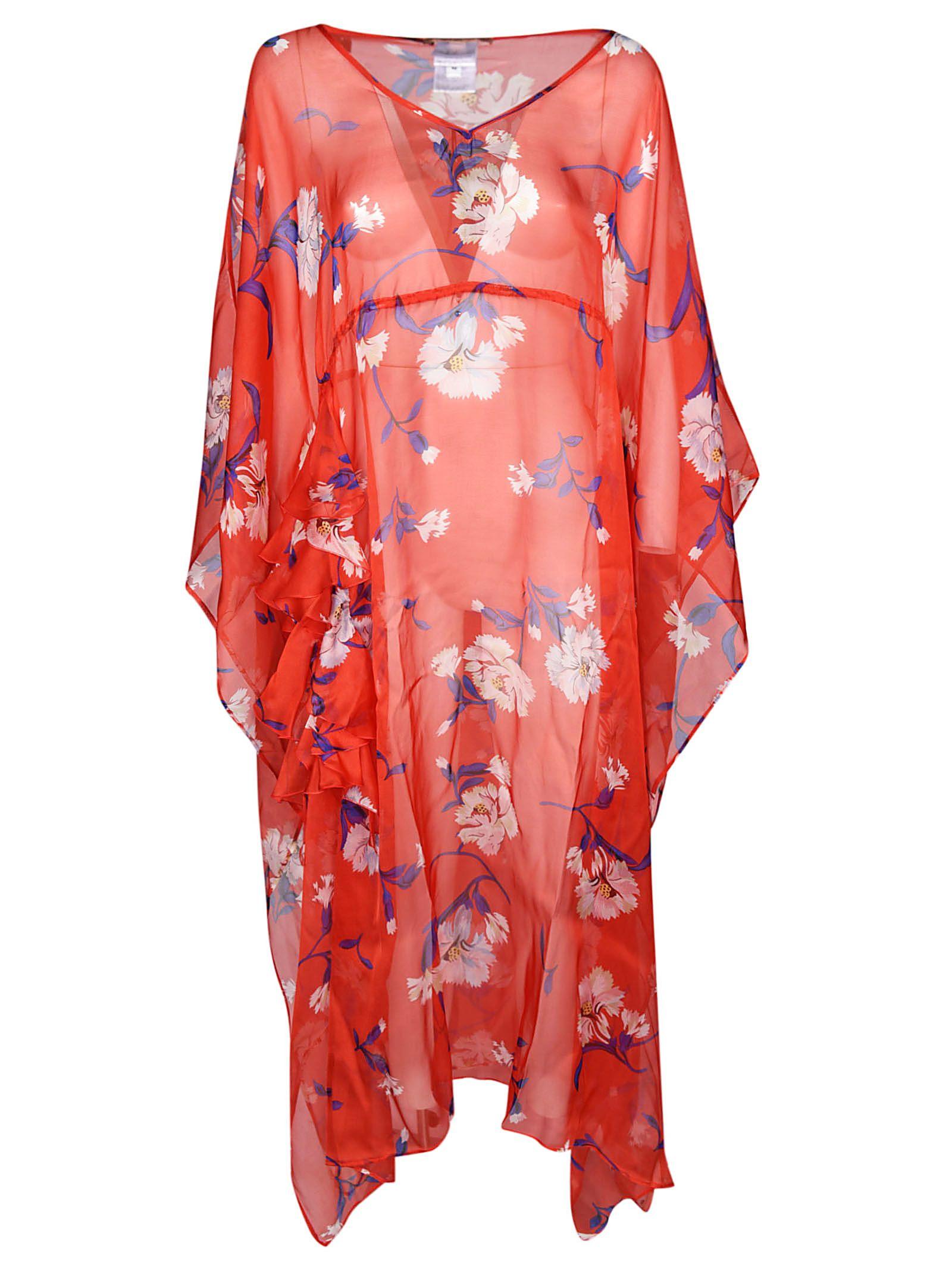 89bd1d378e4bb1 Ermanno Scervino Scervino Beachwear Floral Print Dress In Red Multicolor