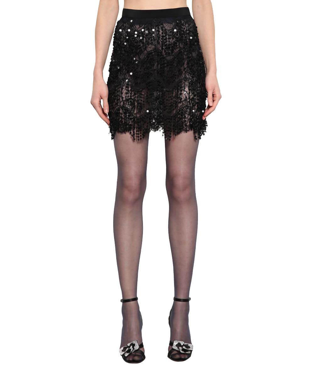 Alessandra Rich Lace Embroidered Skirt