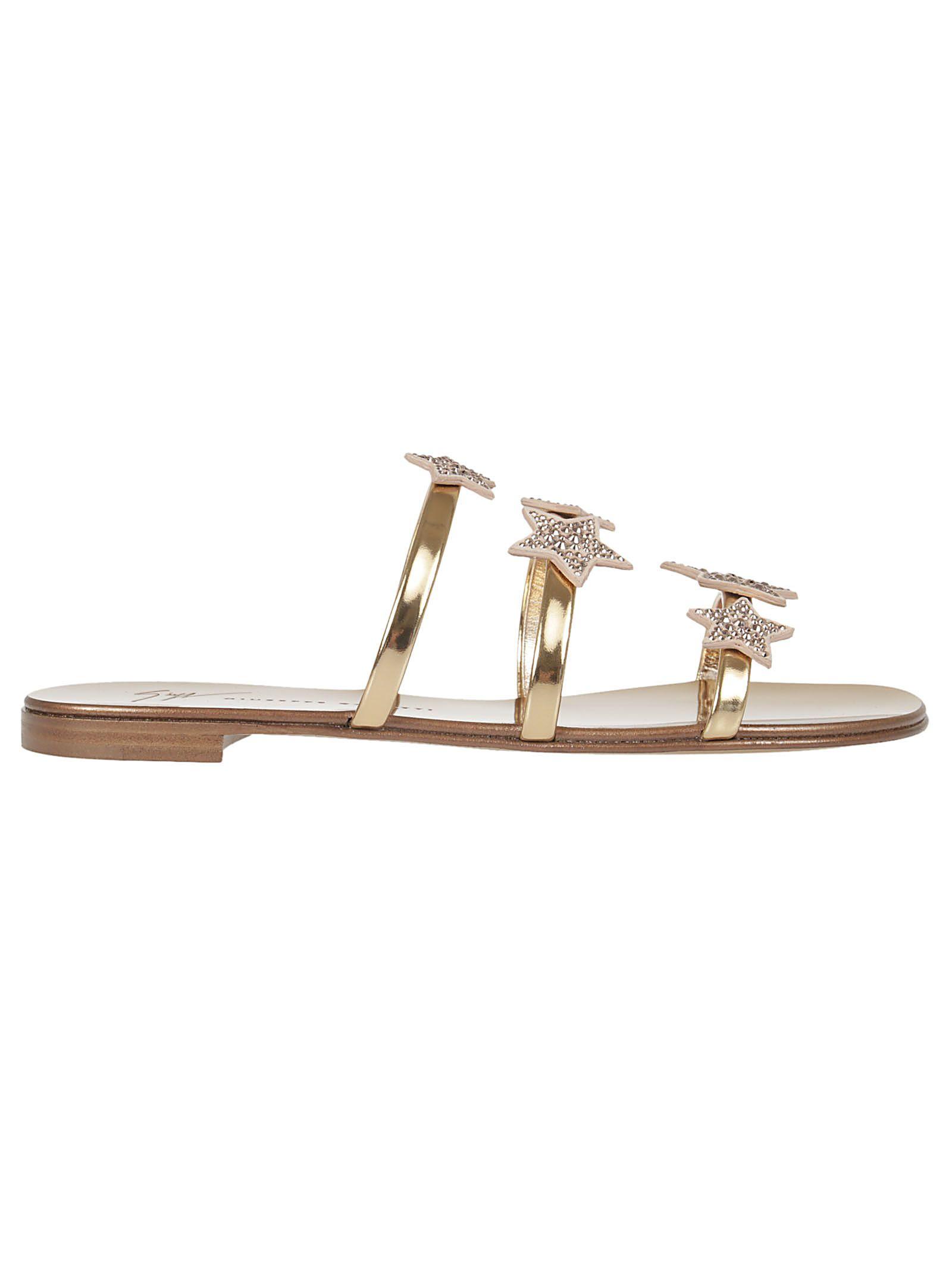 1558a1672bf Giuseppe Zanotti Metallic Star Flat Sandals