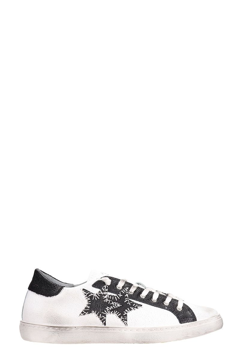 2STAR Low Star White Leather Sneakers in Black