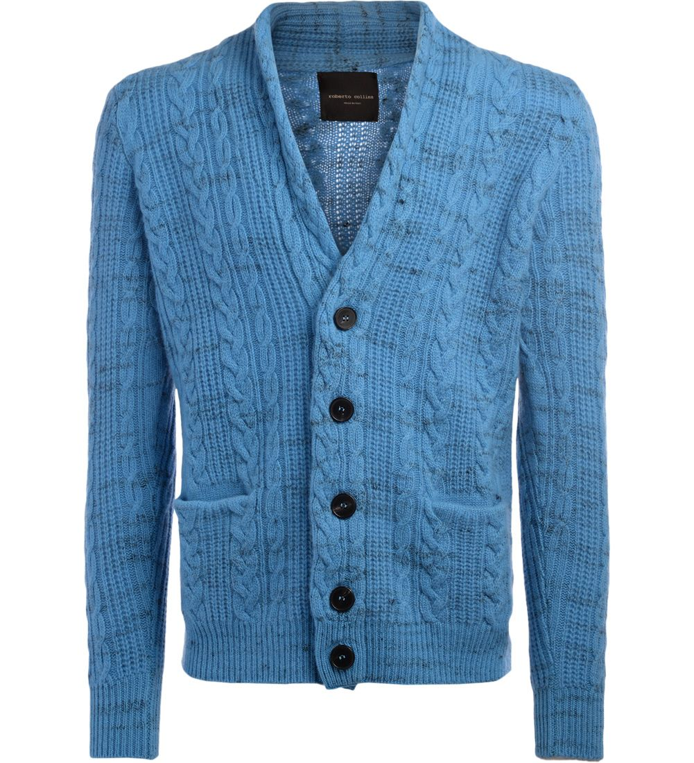 Roberto Collina Light-blue Melange Cardigan
