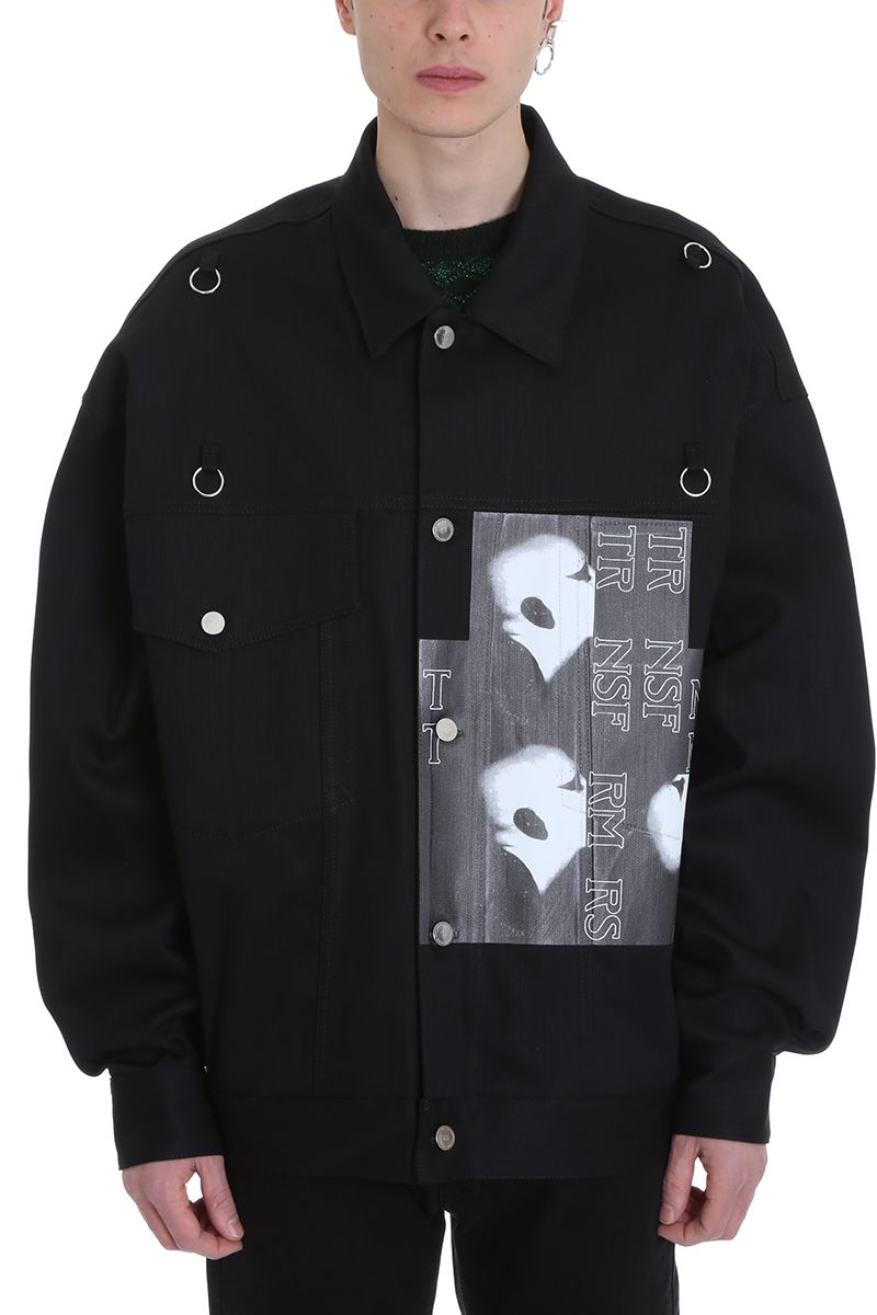 Raf Simons Bold Head Black Denim Jacket