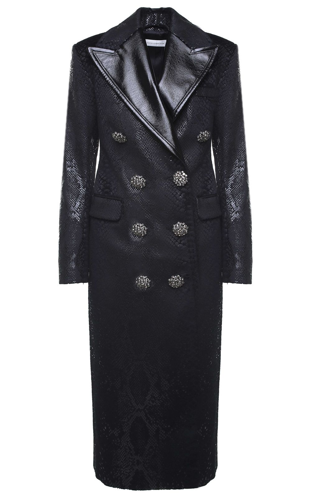 Faith Connexion Double-breasted Crystal-embellished Snake-print Velvet Coat