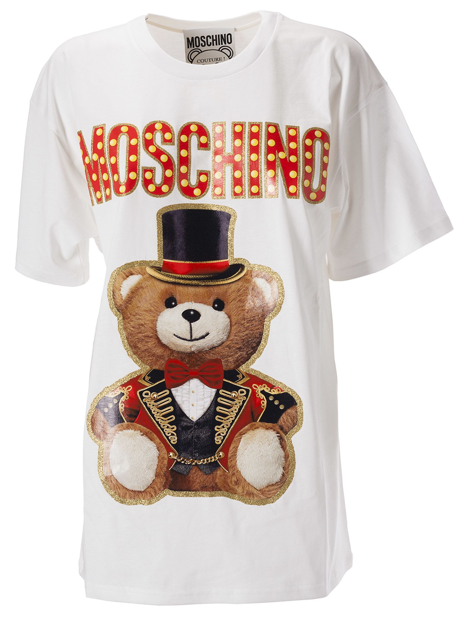 cd7a12f93 Moschino Women's T-Shirt Short Sleeve Crew Neck Round Teddy Circus In 3001  White