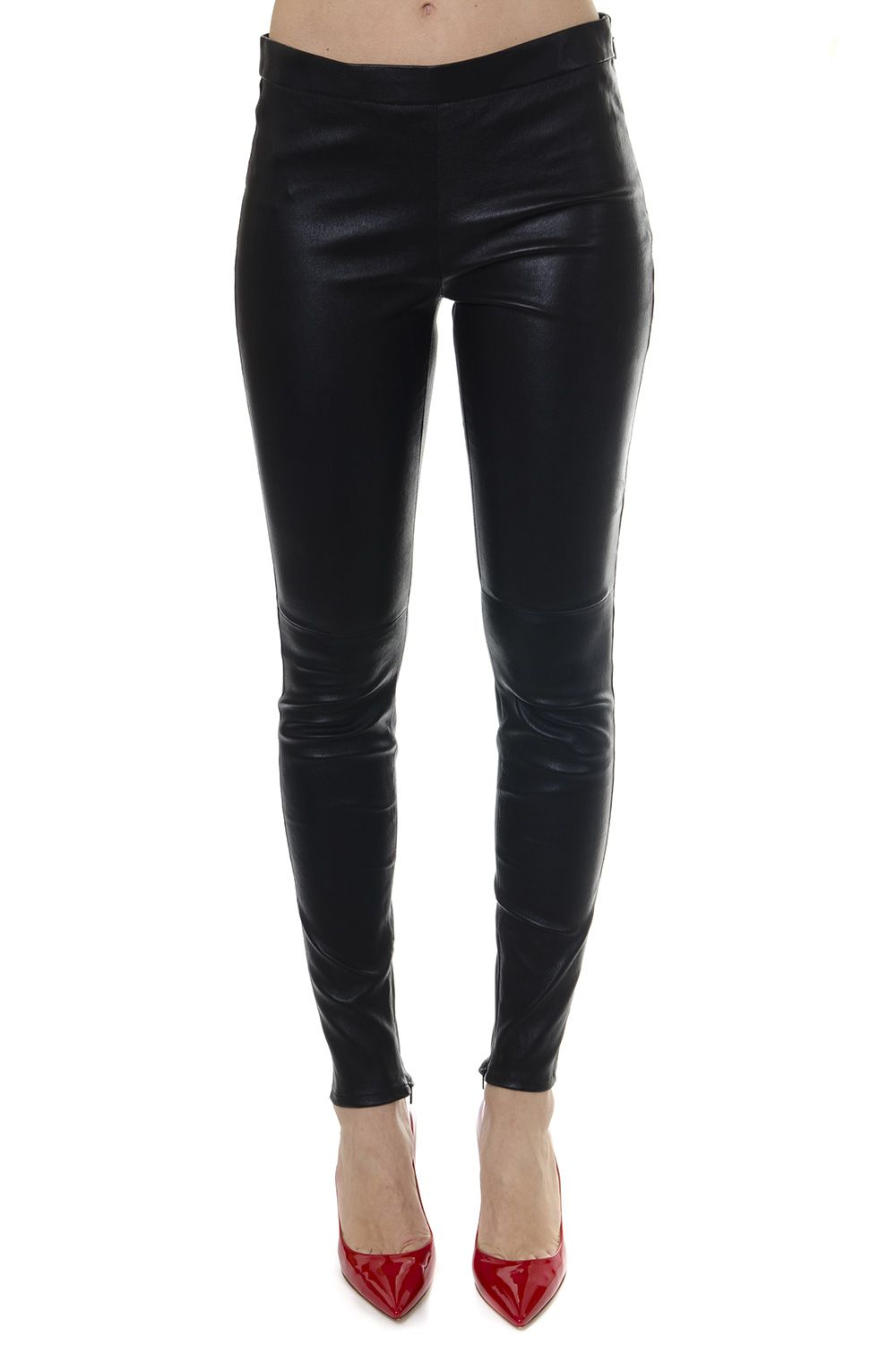 Saint Laurent Black Lambskin Leather Leggins