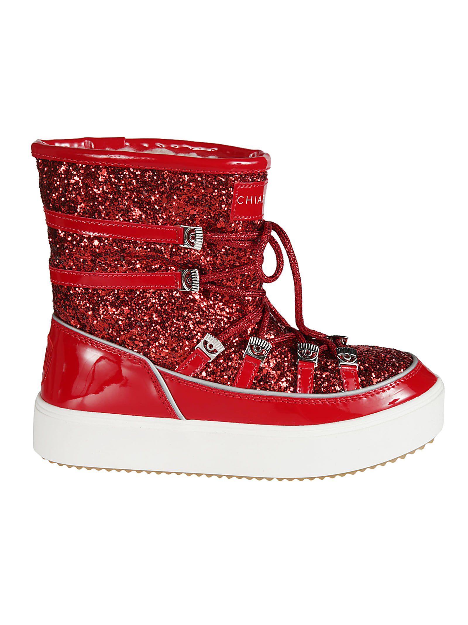 Chiara Ferragni Glittery Coated Snow Boots