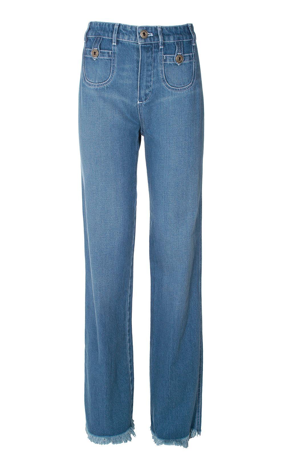 See by Chloé Frayed Hem High-rise Straight-leg Jeans