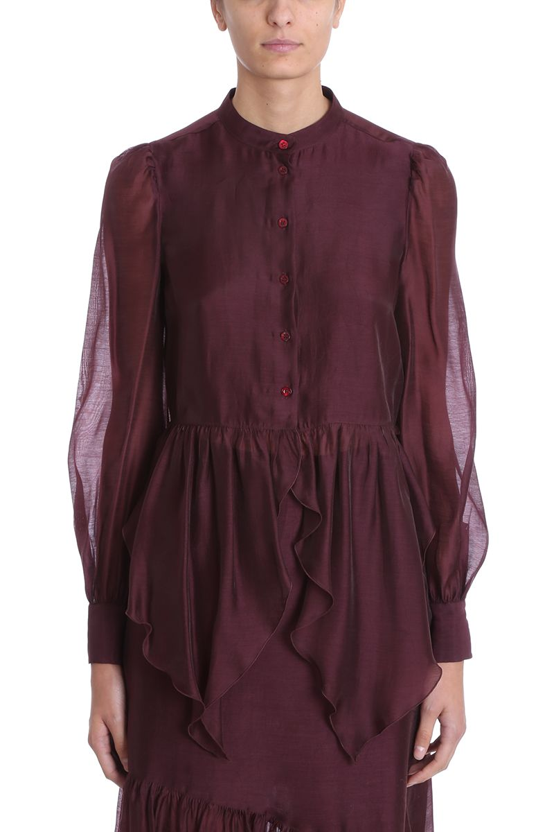 See by Chloé Burgundy Organza Blouse