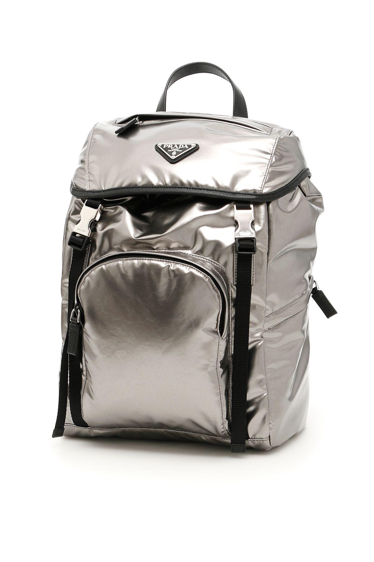 a16320d3ec Shop Prada Metallic Nylon Backpack In Ferro Nero