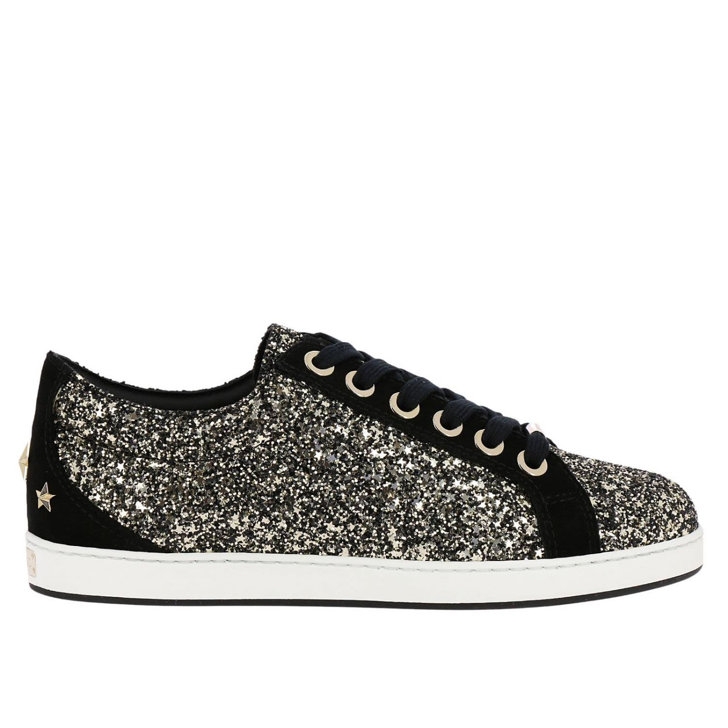Jimmy Choo Sneakers Jimmy Choo Cash Sneakers In Glitter Fabric And Suede With Maxi Stars
