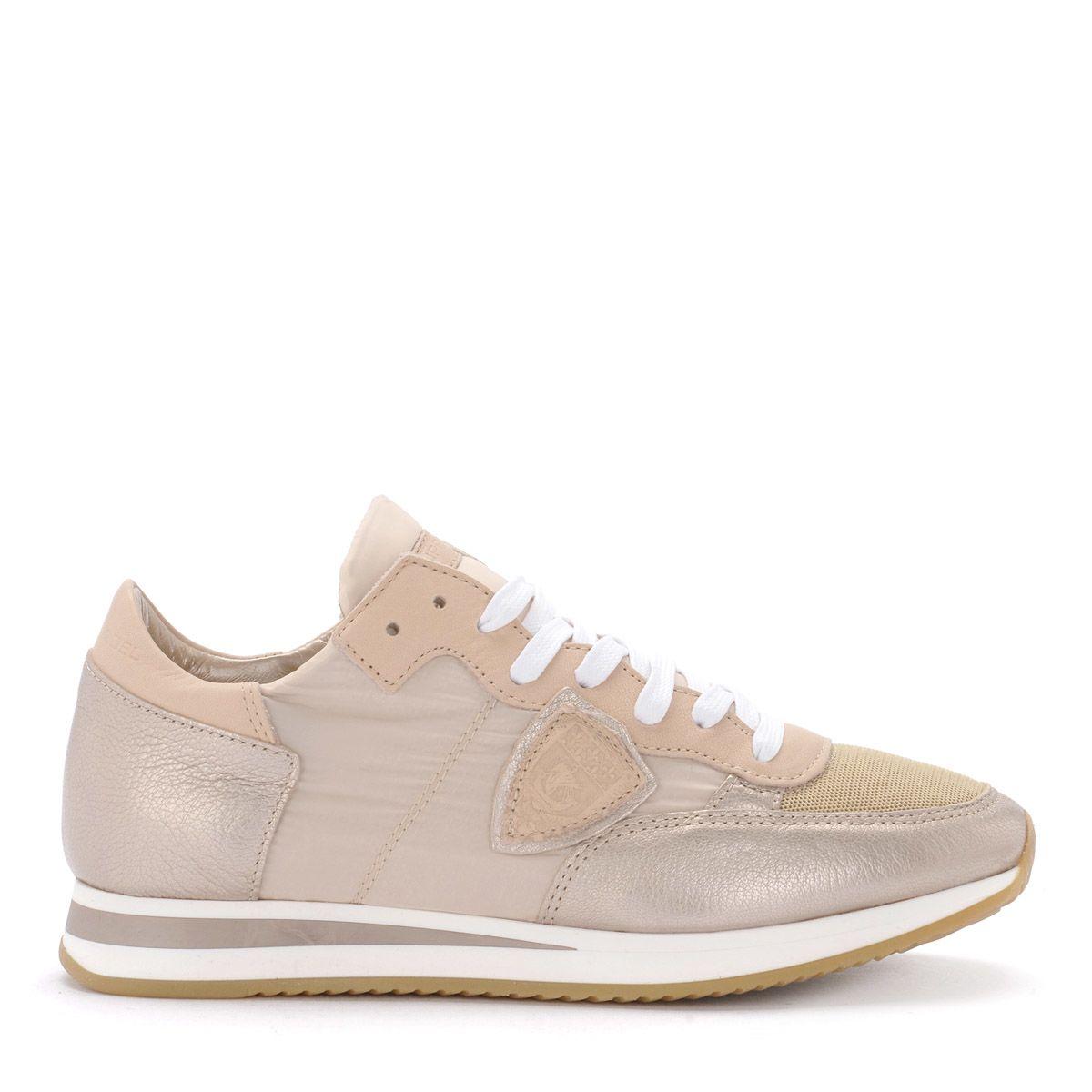 Philippe Model Tropez Metal Pink Leather Sneaker