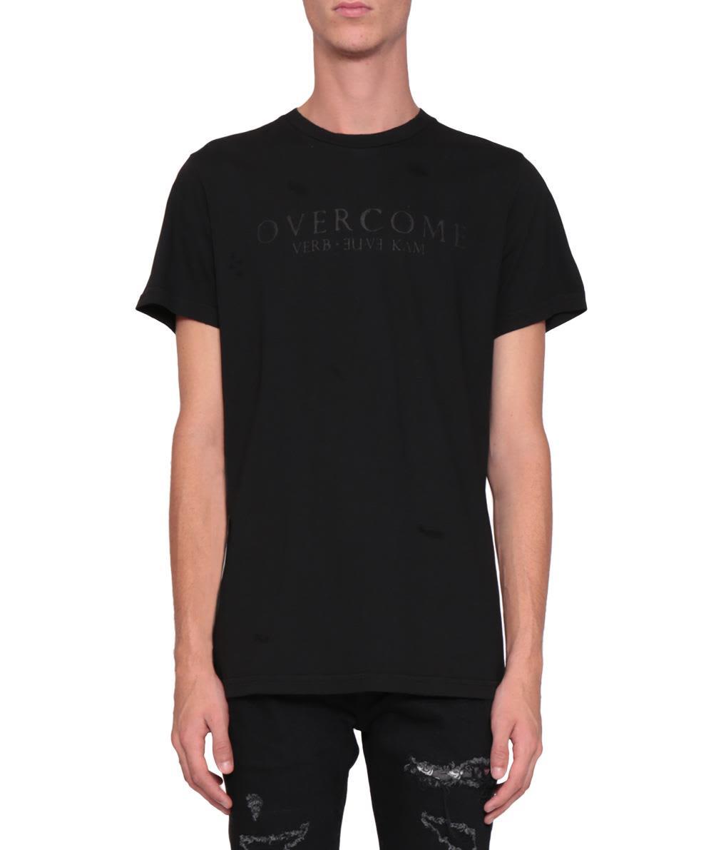 Overcome Black Cotton T-shirt