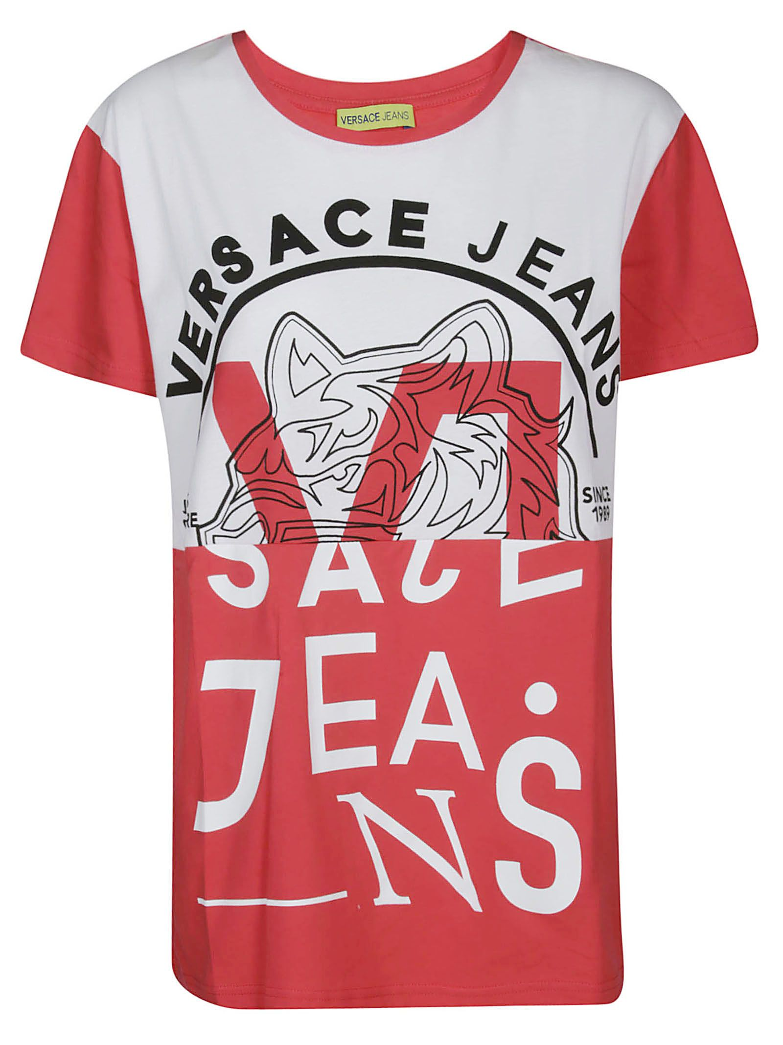 Versace Jeans Logo Print T Shirt In Red White Modesens