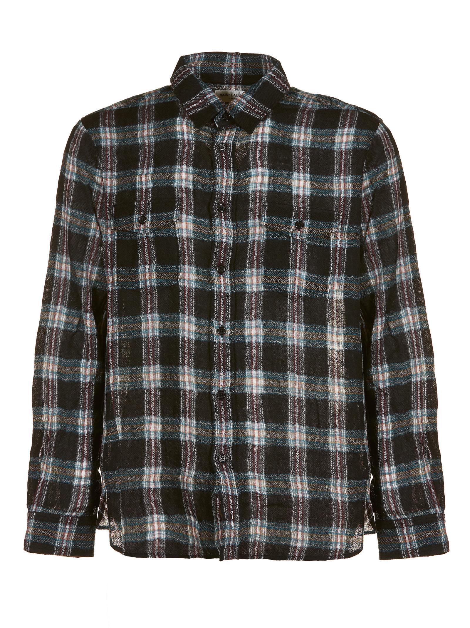 Saint Laurent Plaid Print Shirt