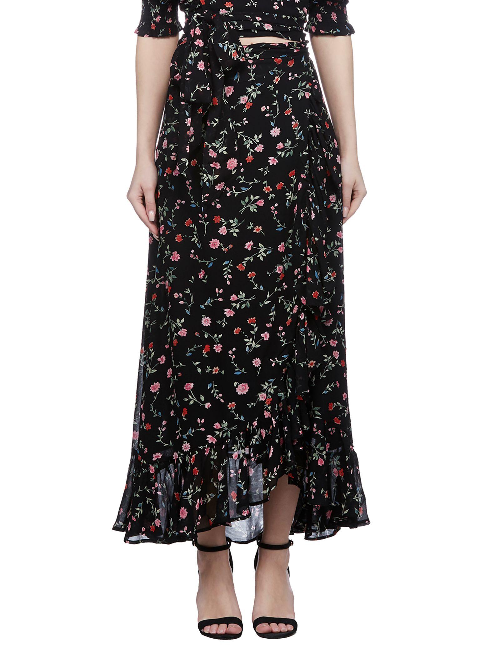 Ganni Floral Print Wrap Skirt