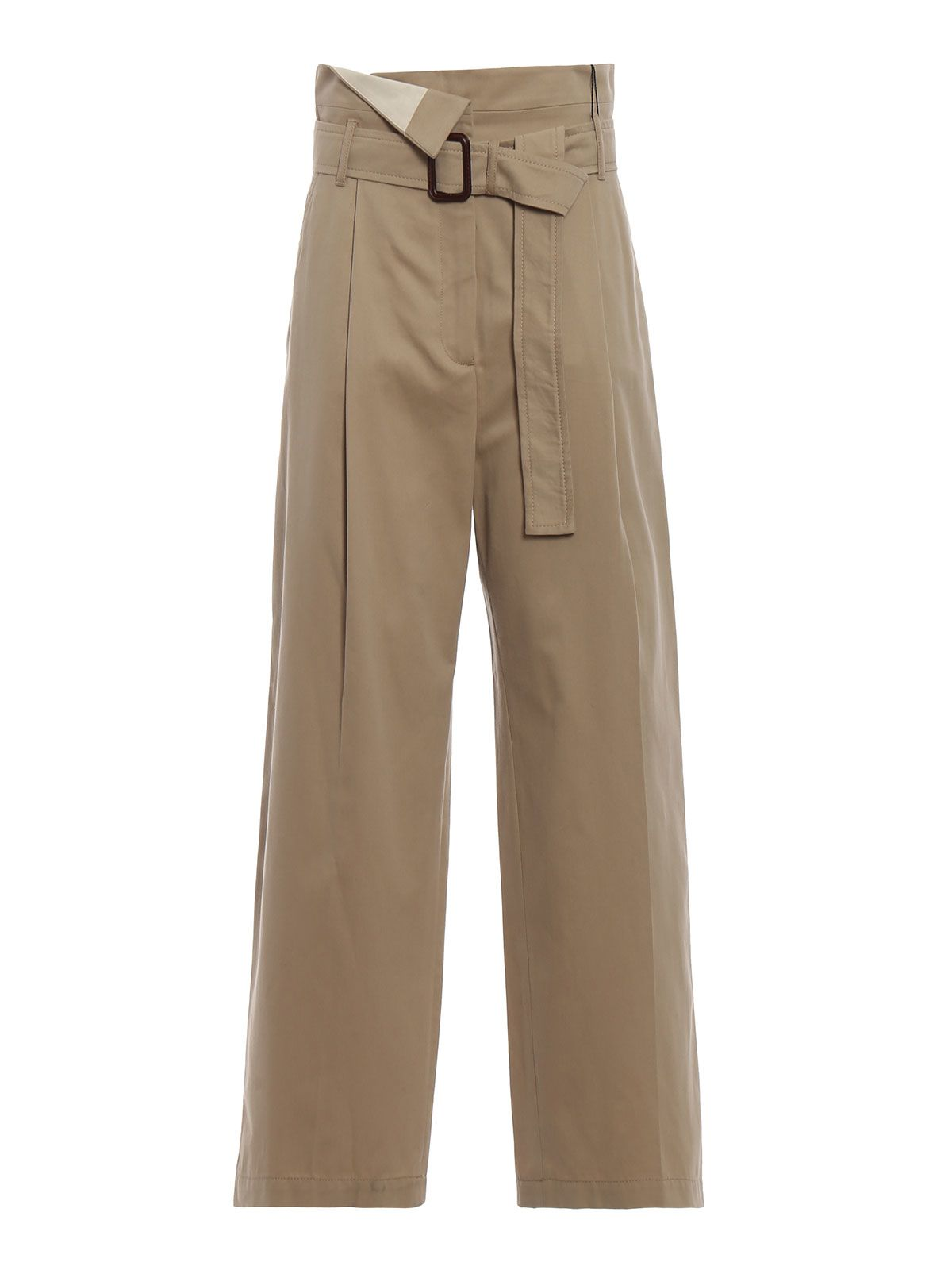 max mara -  Ebro Beige Cotton Drill Wide Leg Trousers