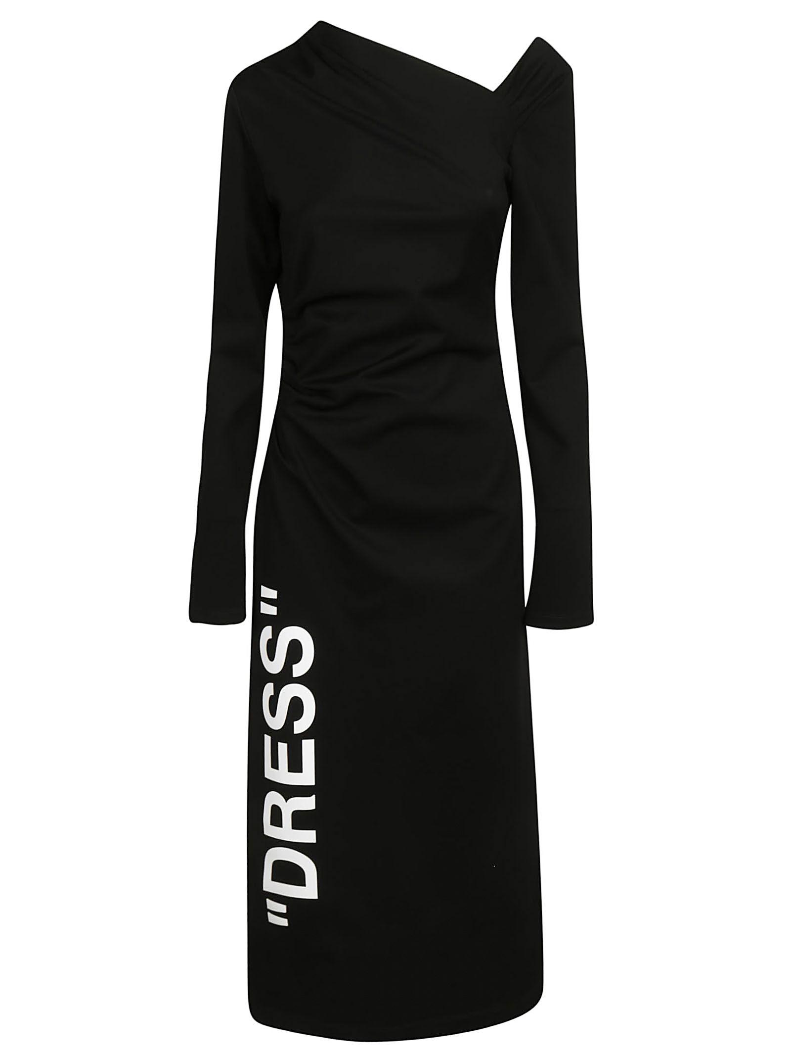 Off-White Asymmetric Shoulder Dress