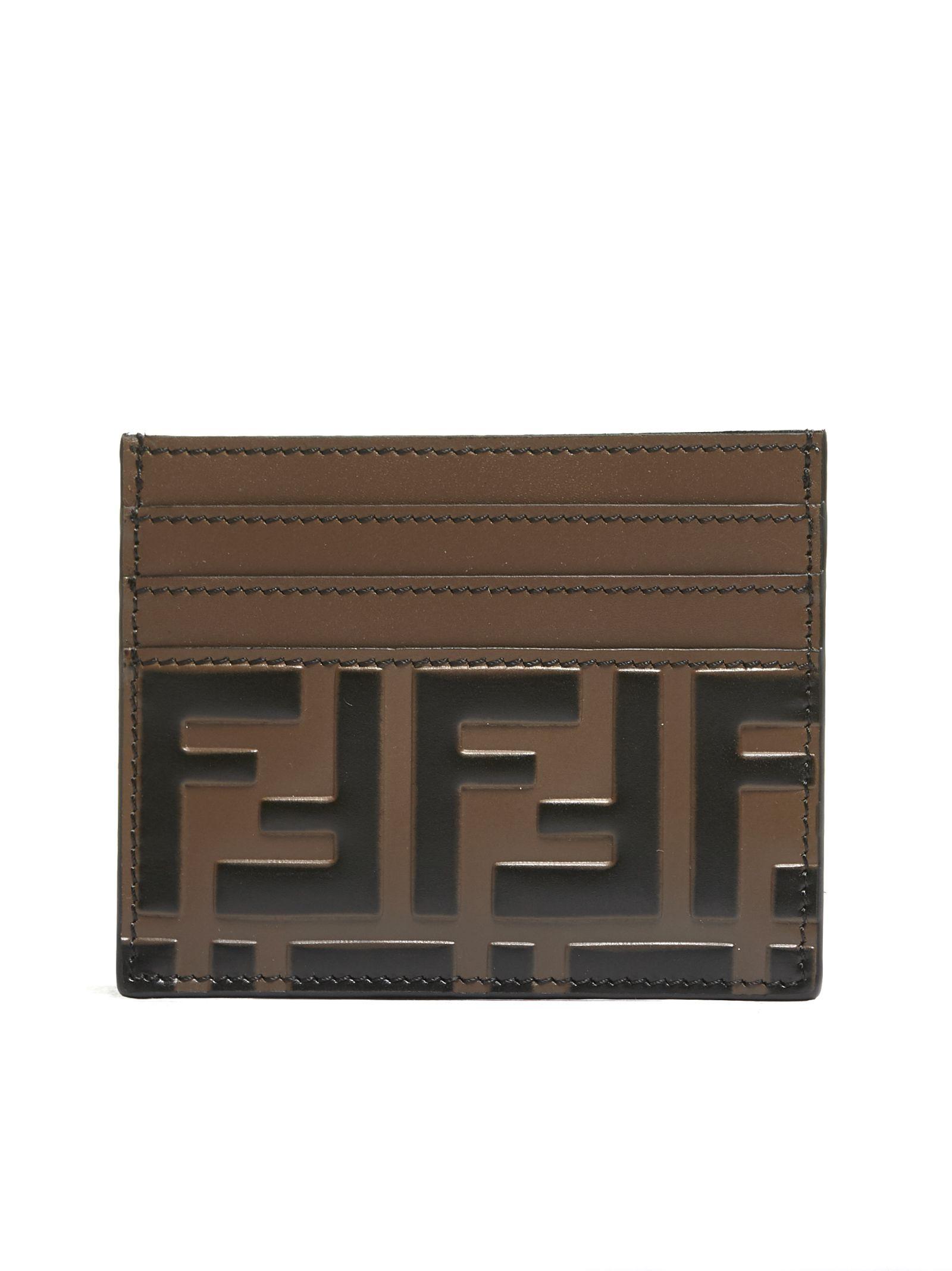 Fendi Embossed Leather Card Holder