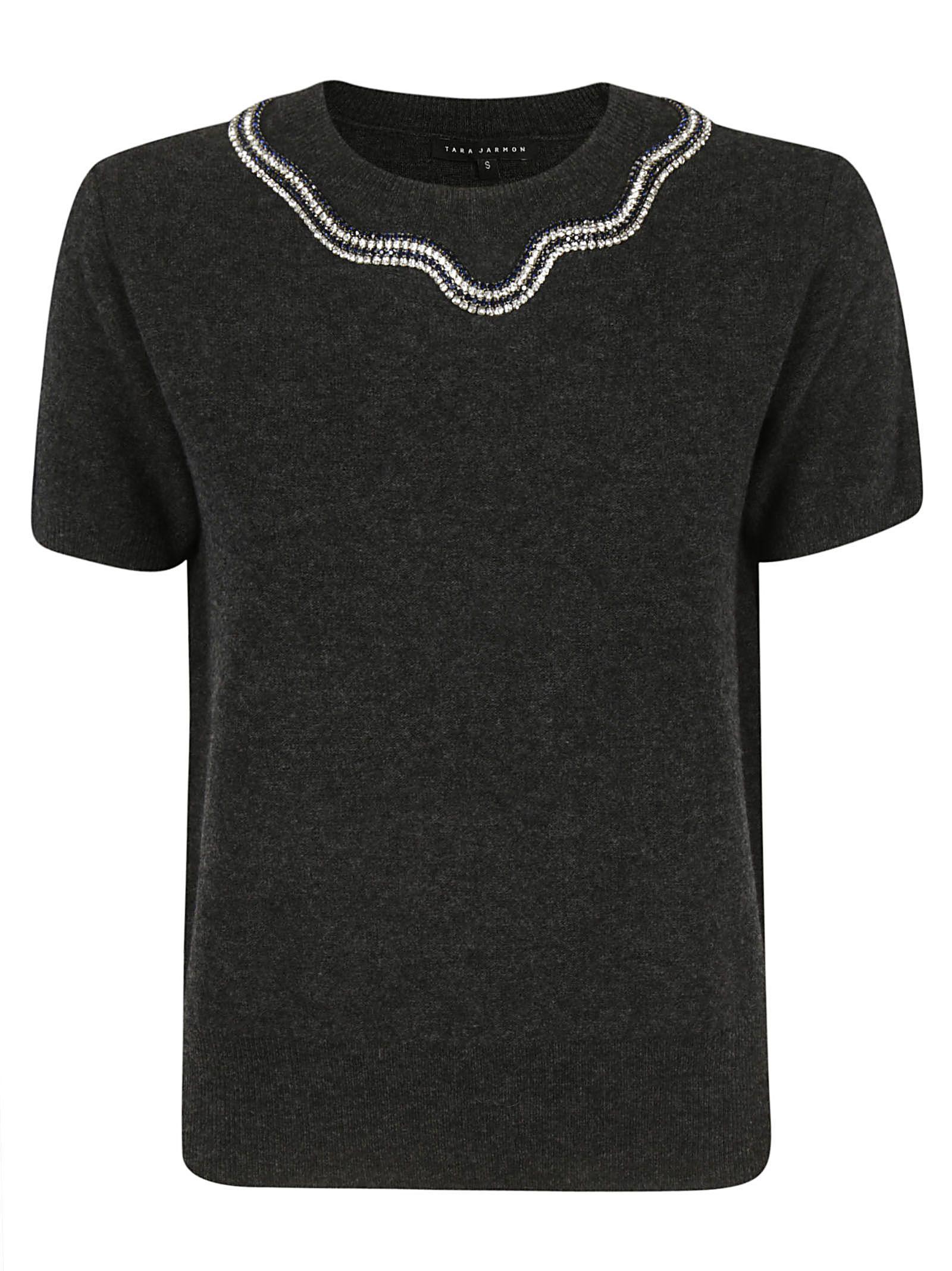 Tara Jarmon Jeweled Collar Top