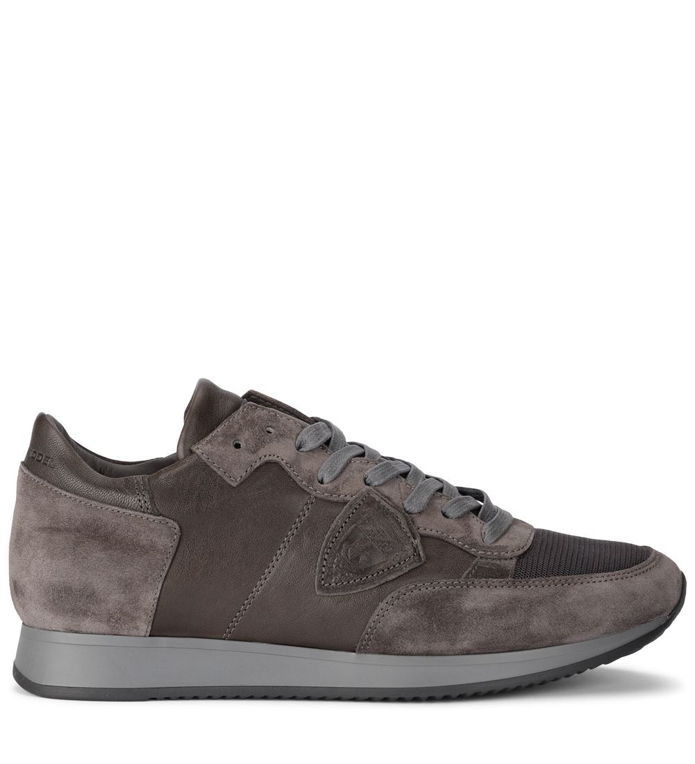 Philippe Model Tropez Brown Leather And Suede Sneaker