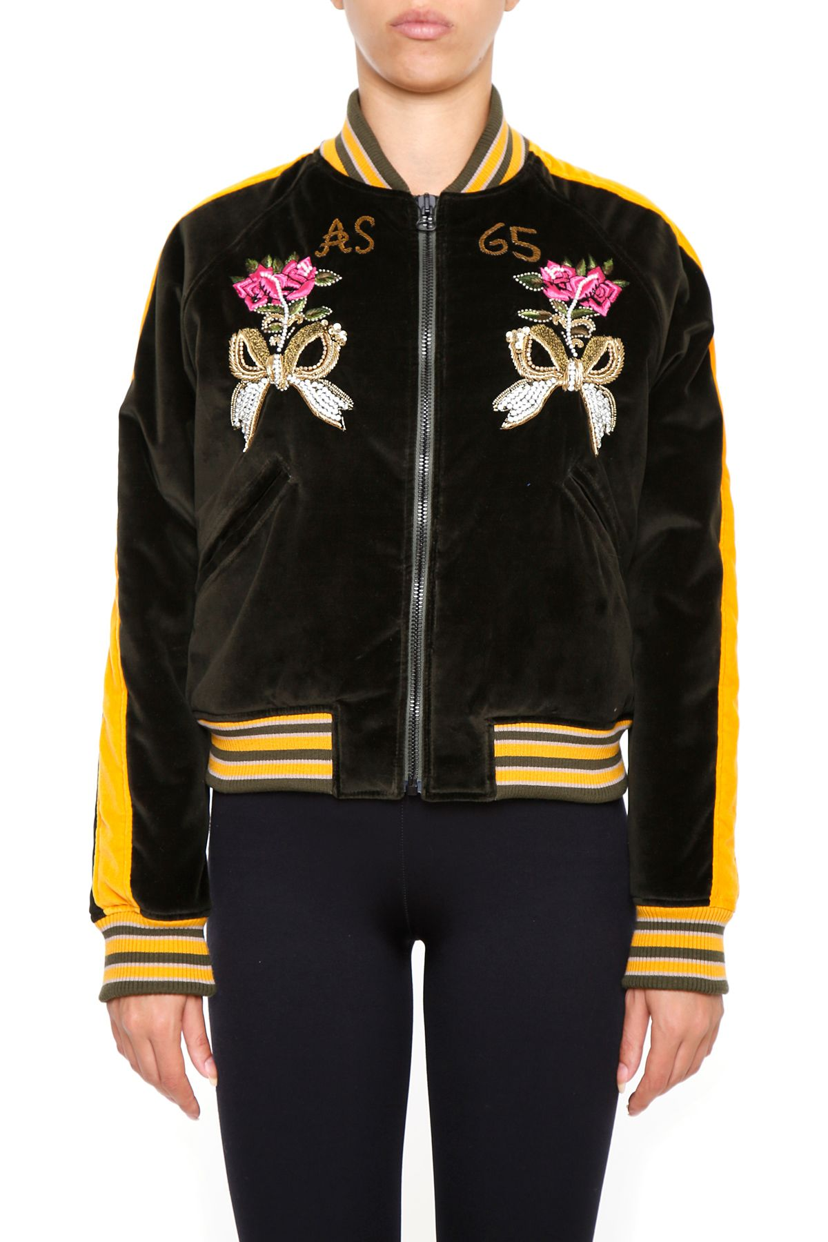 AS65 Bomber Jacket With Embroidered Panther And Flowers