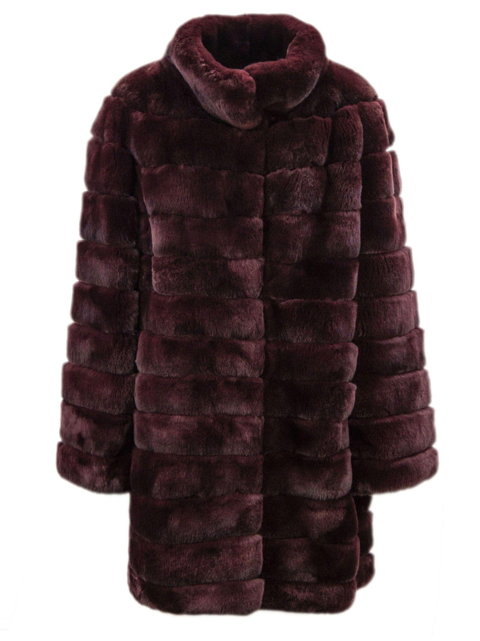 Yves Salomon Bordeaux Rabbit-fur Coat.