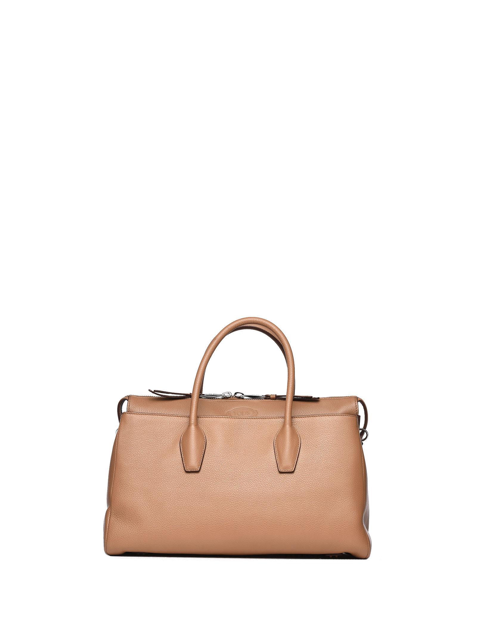 Tote Bag With Strap In Tobacco Brown Leather in Tabacco E Mattone