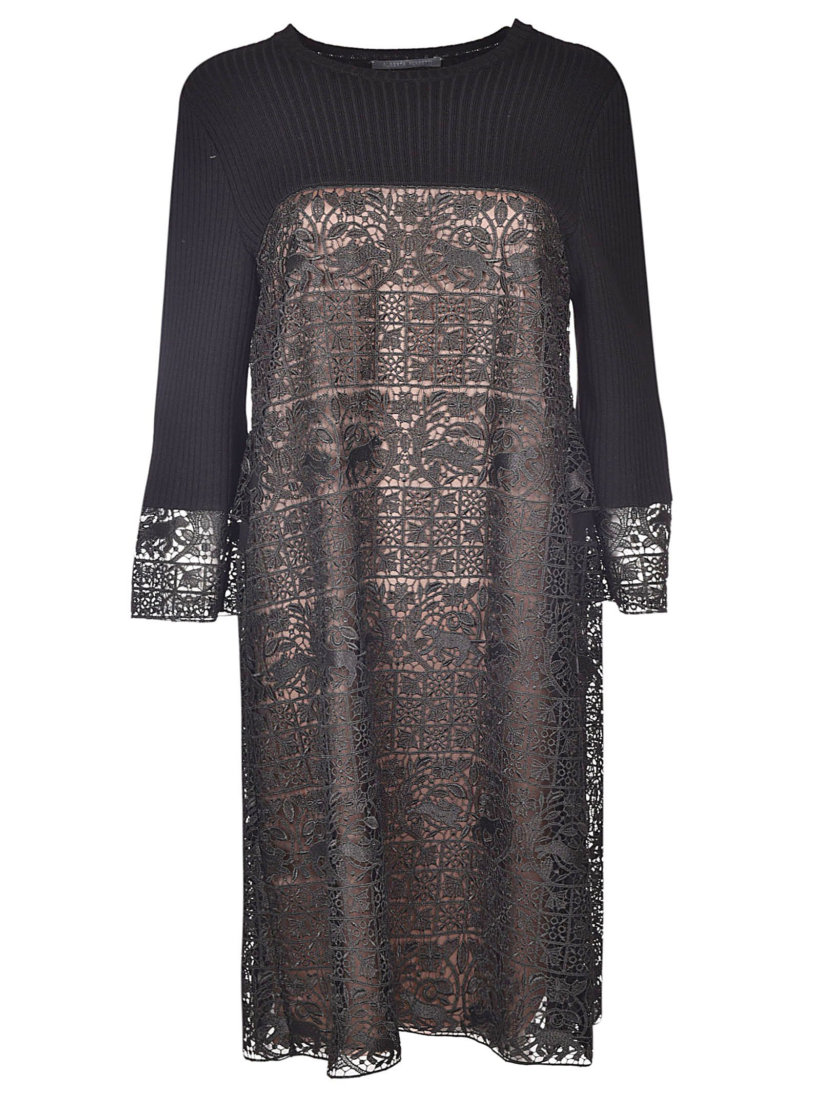 Alberta Ferretti Embroidered Panel Knit Dress
