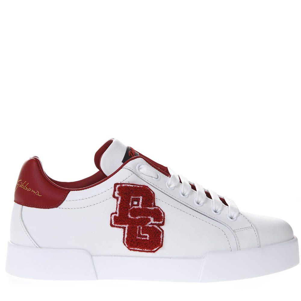 Dolce & Gabbana Red And White Portofino Sneakers In Leather