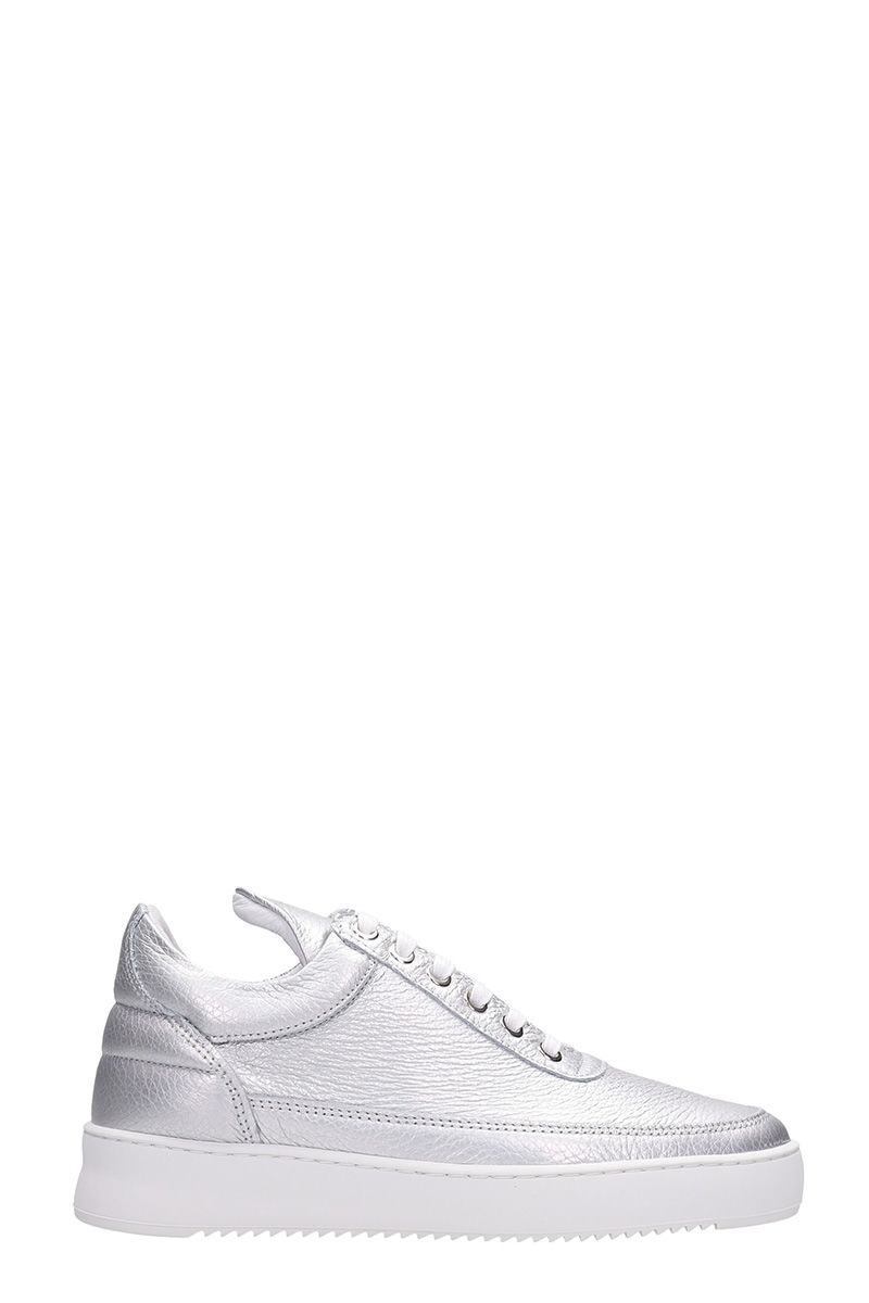 Filling Pieces Silver Leather Sneakers