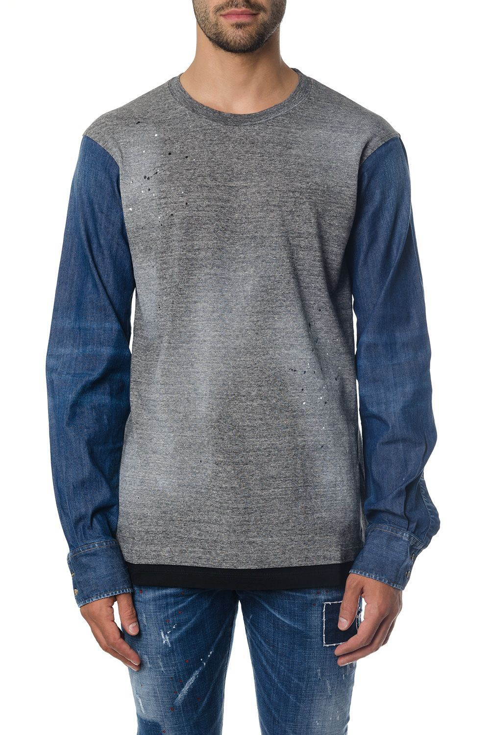Dsquared2 Bicolor Long Sleeves T-shirt In Cotton