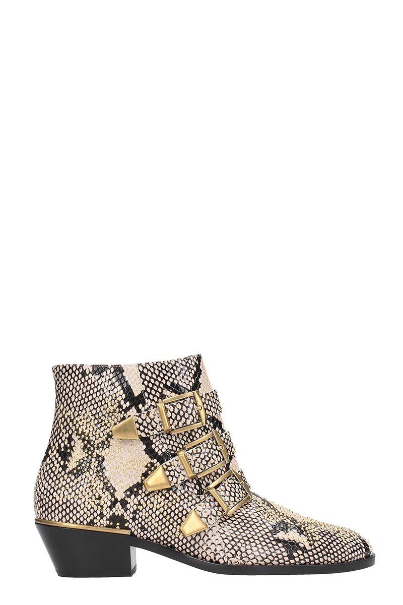 chloé -  Susanna Snake Print Leather Boots