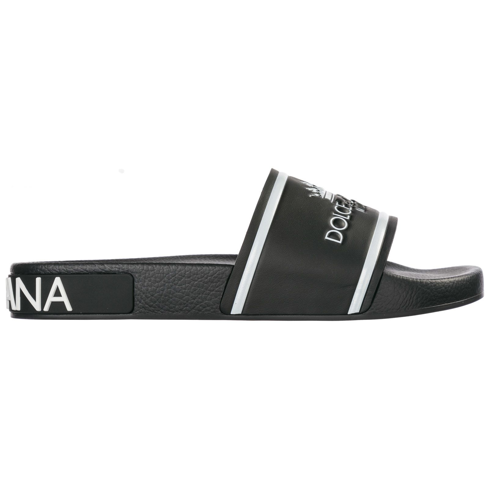 d2a6515f3 Dolce   Gabbana Rubber And Calf Black Slippers With Logo