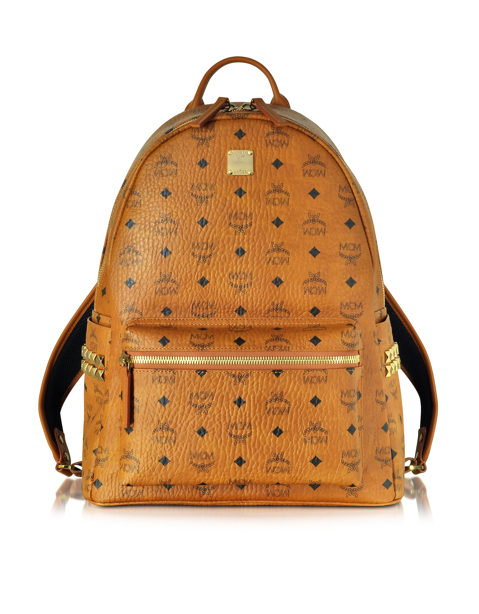 Mcm Cognac Stark Medium Backpack