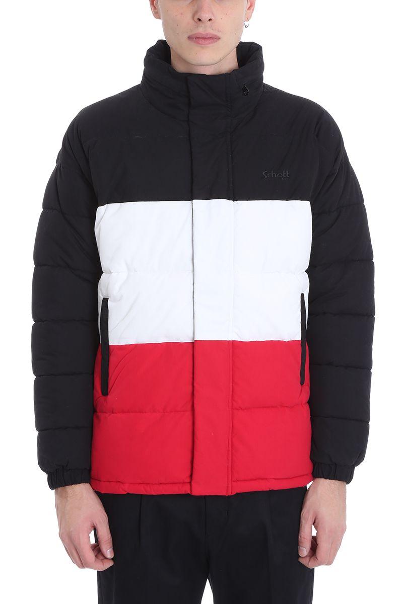 Schott Black-white-red Nylon Nebraska Down Jacket