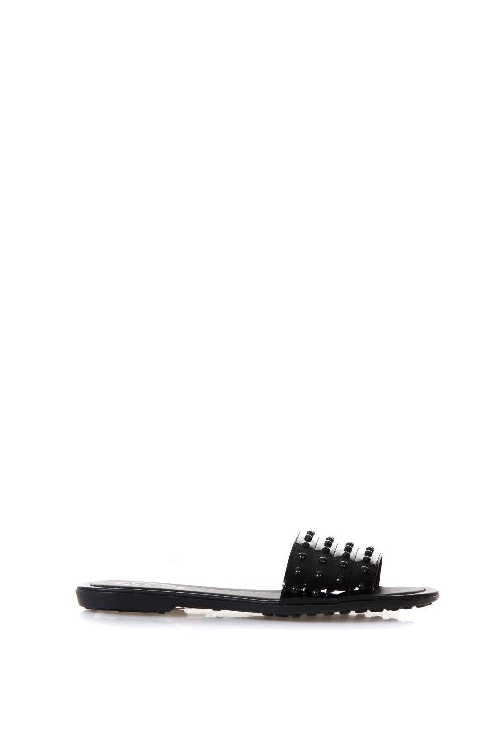 Tod's Black Rubber Studs Slipper In Leather