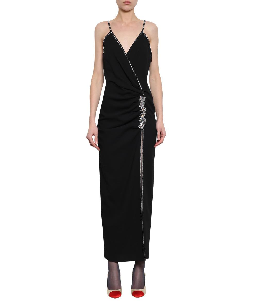 Alessandra Rich Wool Blend Crepe Dress